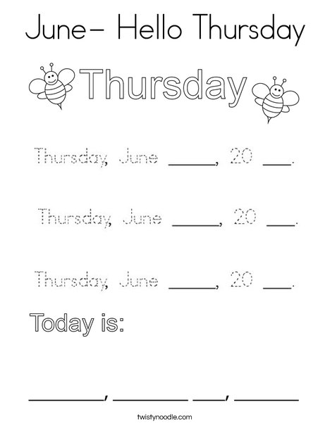 June- Hello Thursday Coloring Page