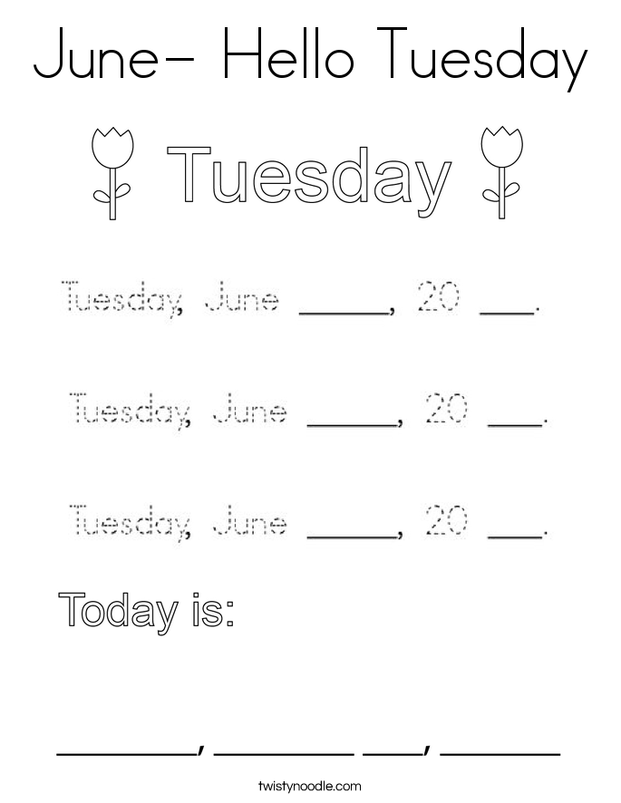 June- Hello Tuesday Coloring Page