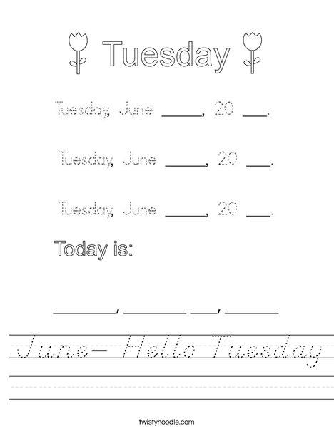 June- Hello Tuesday Worksheet