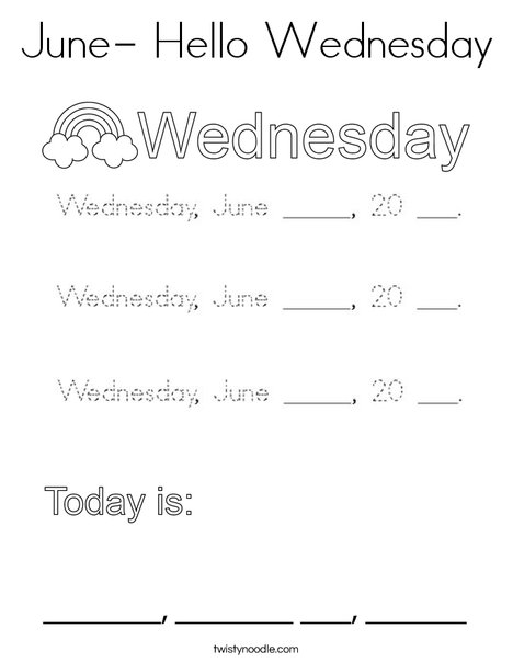 June- Hello Wednesday Coloring Page