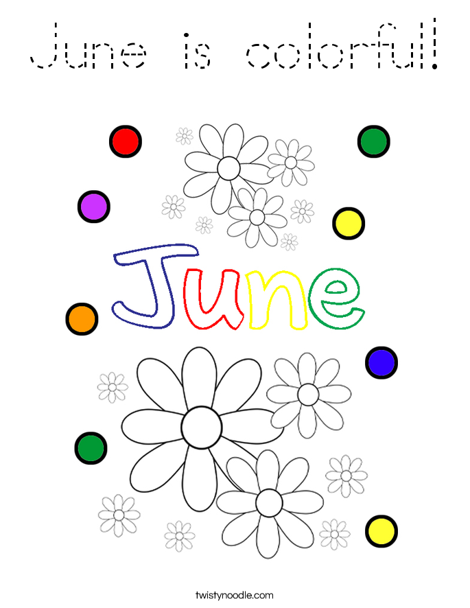 June is colorful Coloring Page - Tracing - Twisty Noodle