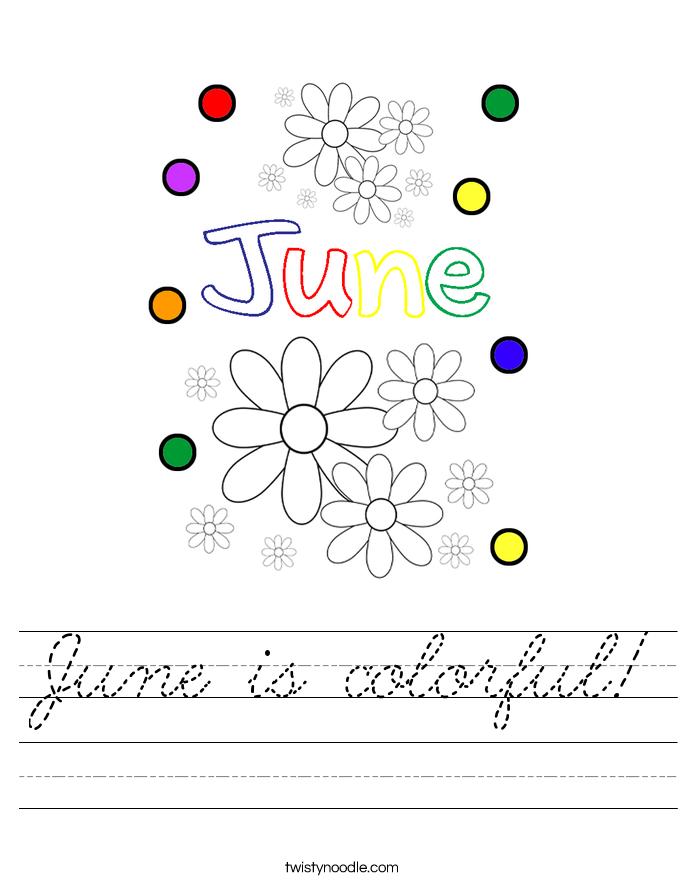 June is colorful! Worksheet