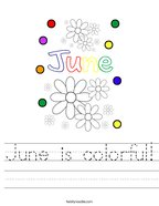 June is colorful Handwriting Sheet