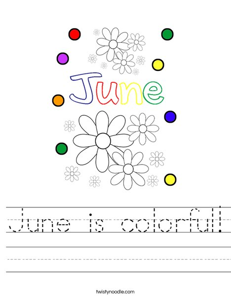 June is colorful! Worksheet
