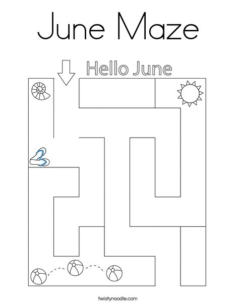 June Maze Coloring Page
