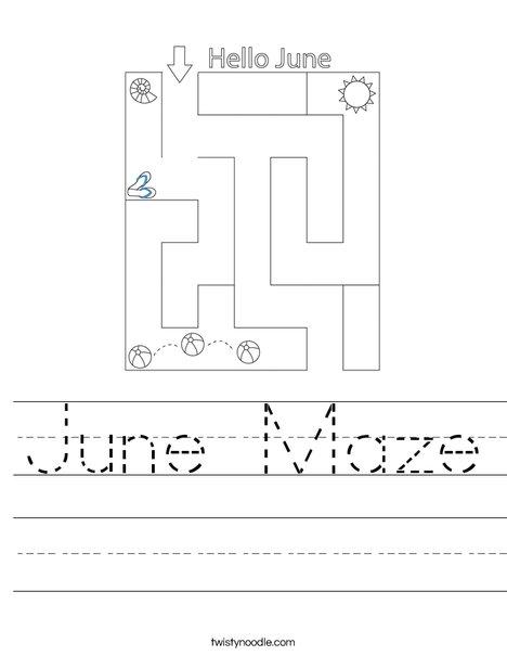 June Maze Worksheet