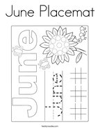 June Placemat Coloring Page