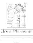 June Placemat Handwriting Sheet