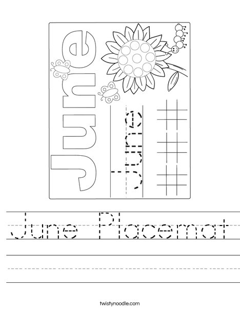 June Placemat Worksheet