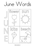 June Words Coloring Page