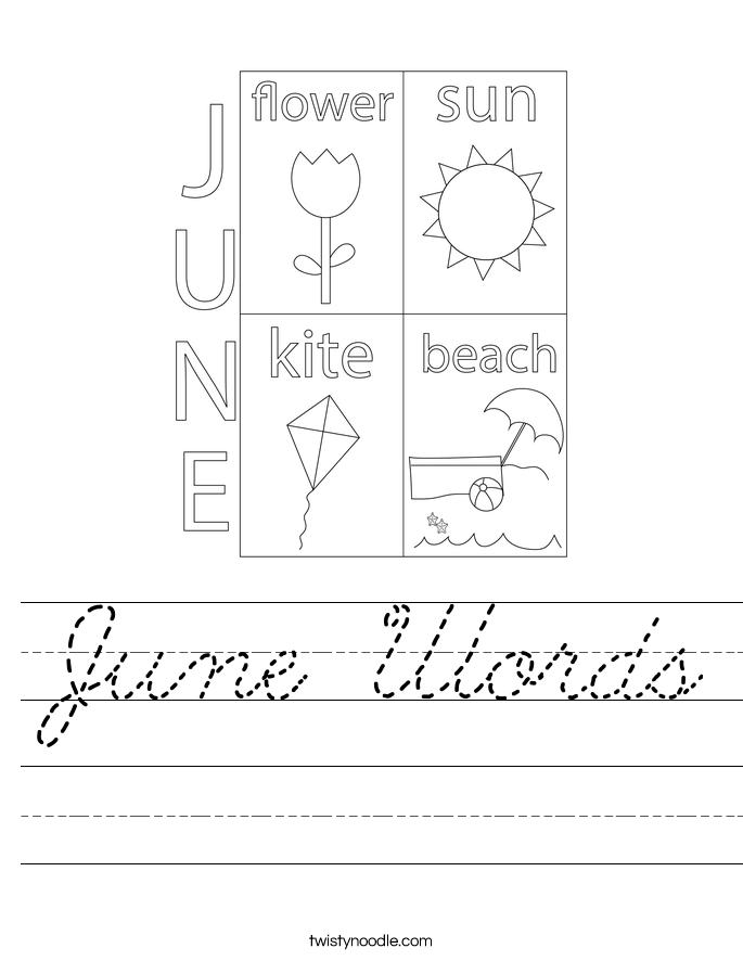 June Words Worksheet