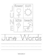 June Words Handwriting Sheet