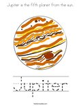 Jupiter is the fifth planet from the sun. Coloring Page