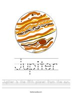 Jupiter is the fifth planet from the sun Handwriting Sheet