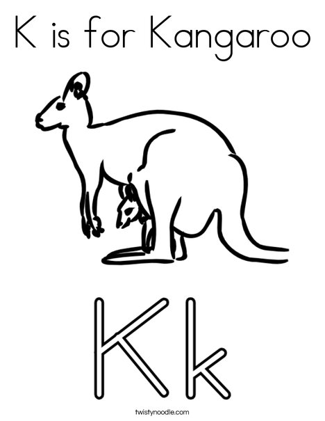 K is for Kangaroo Coloring Page