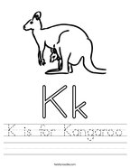 K is for Kangaroo Handwriting Sheet