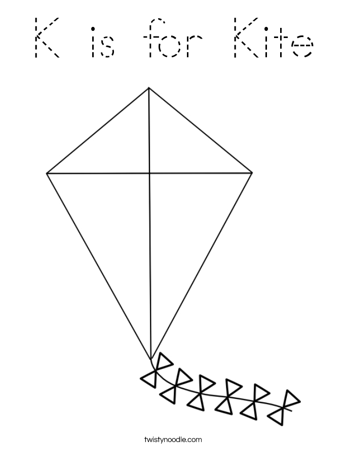 K is for Kite Coloring Page