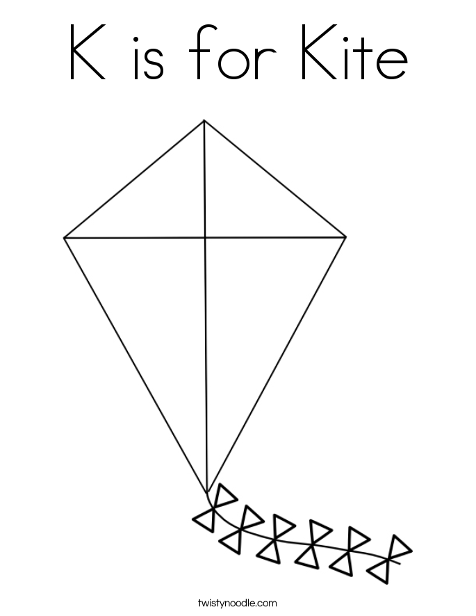 K is for Kite Coloring Page Twisty Noodle