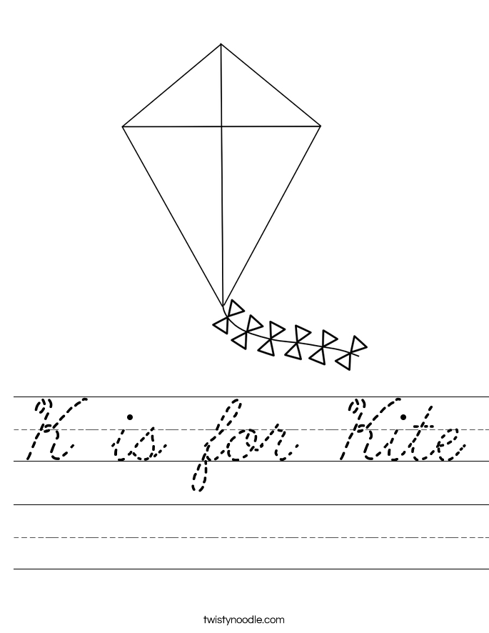 K is for Kite Worksheet