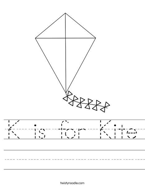 K is for Kite Worksheet