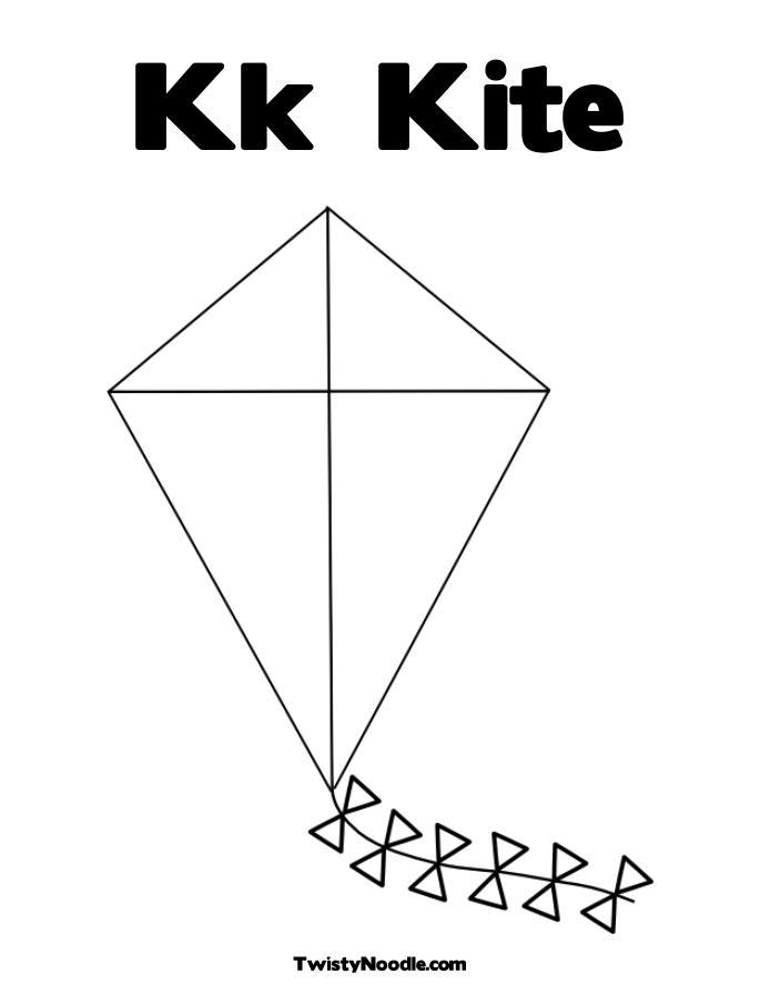 Kk Kite Coloring Page