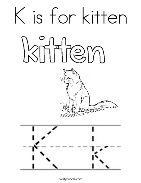 K is for kitten Coloring Page