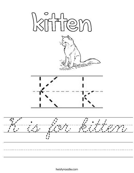 K is for kitten Worksheet