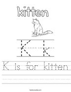 K is for kitten Handwriting Sheet