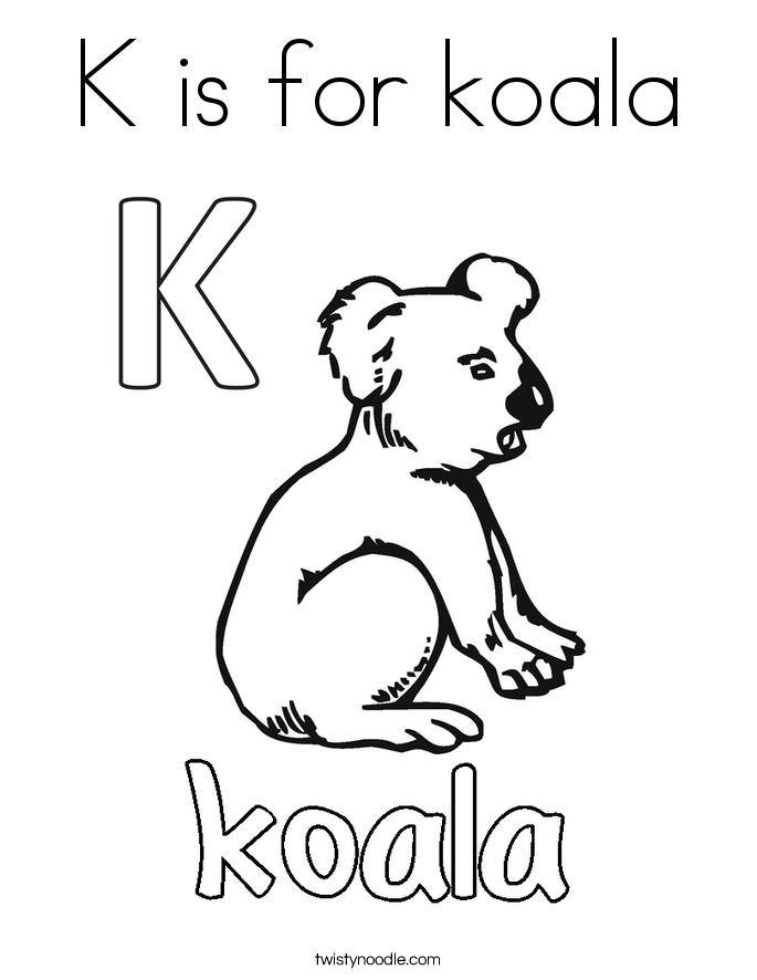 K Is For Koala Coloring Page Twisty Noodle
