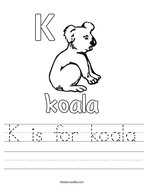 K is for koala Handwriting Sheet