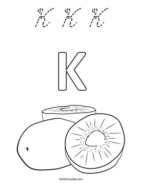 K Kiwi Coloring Page