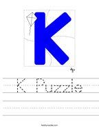 K Puzzle Handwriting Sheet