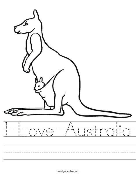 Kangaroo with Baby Worksheet