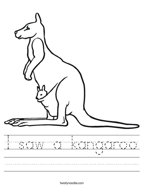 Kangaroo with Baby Worksheet