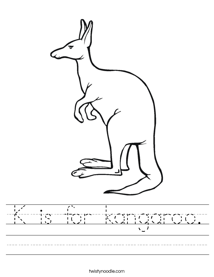 k is for kangaroo coloring pages - photo #50