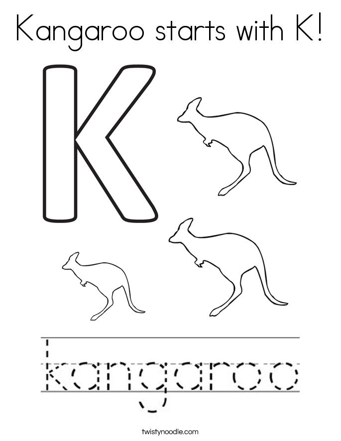 Kangaroo starts with K! Coloring Page