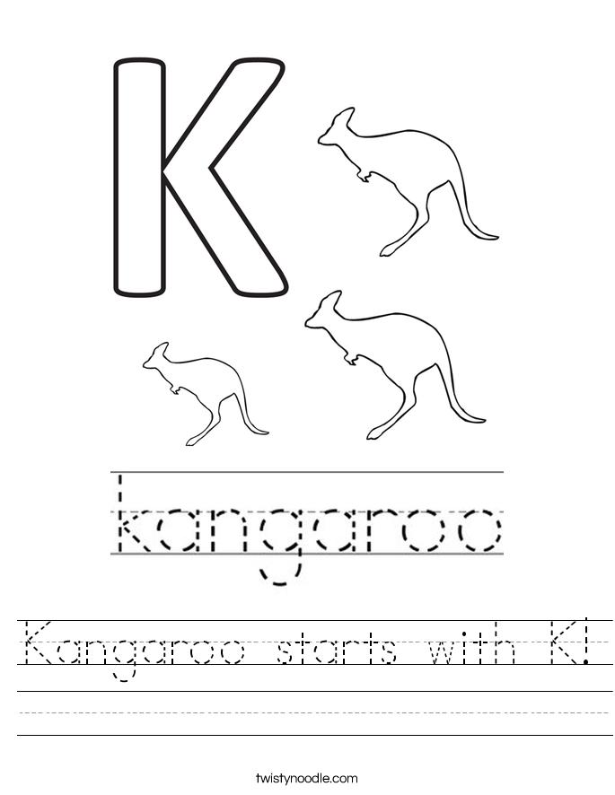 Kangaroo starts with K! Worksheet