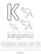 Kangaroo starts with K Handwriting Sheet