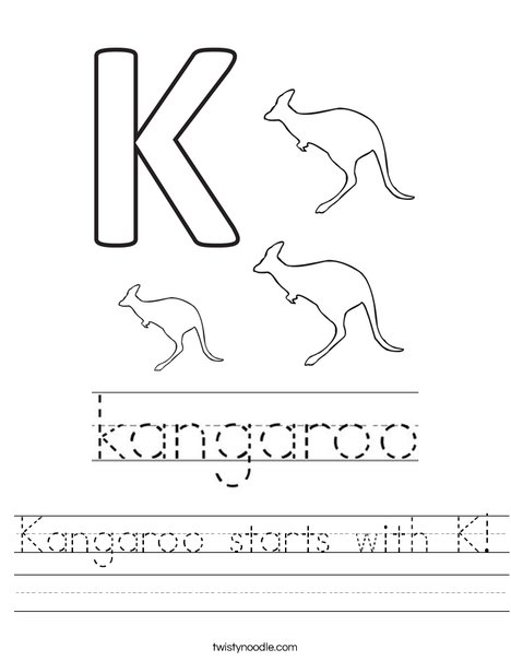Color and Learn: Red Kangaroo | Worksheet | Education.com