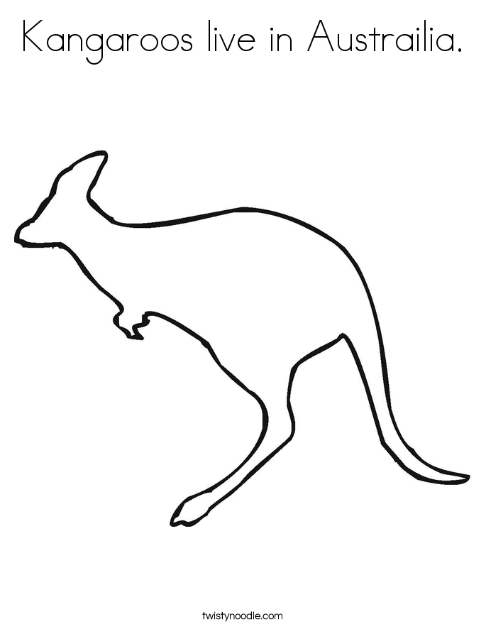 Kangaroos live in Austrailia. Coloring Page