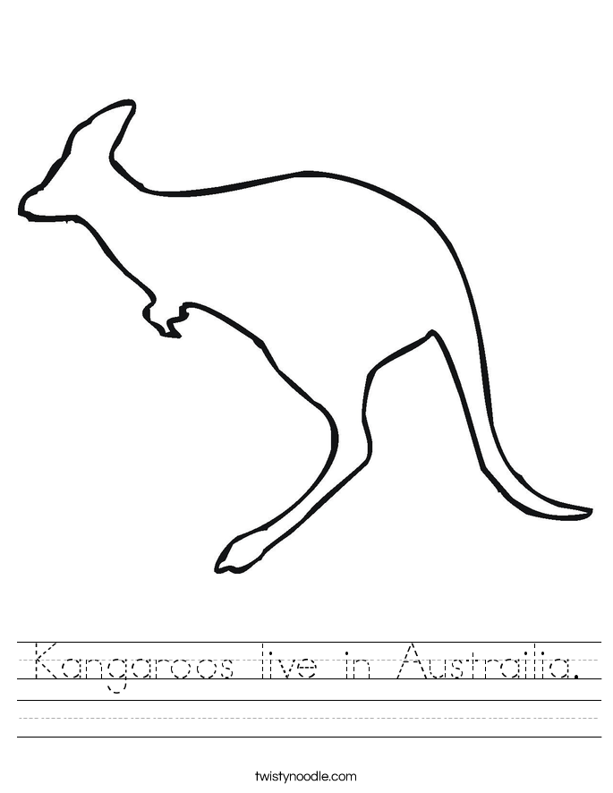 Kangaroos live in Austrailia. Worksheet