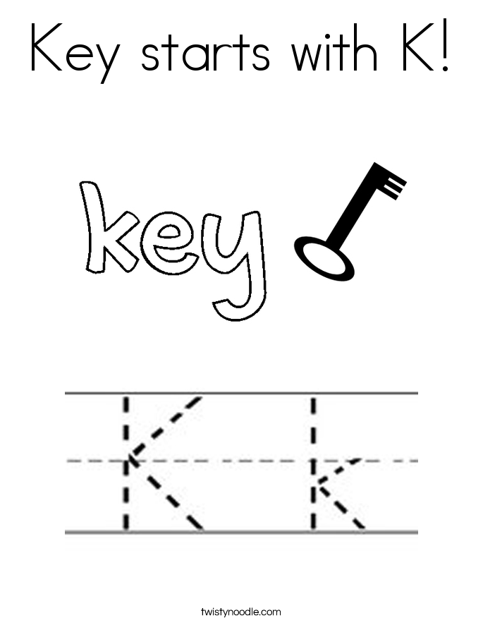 Key starts with K! Coloring Page