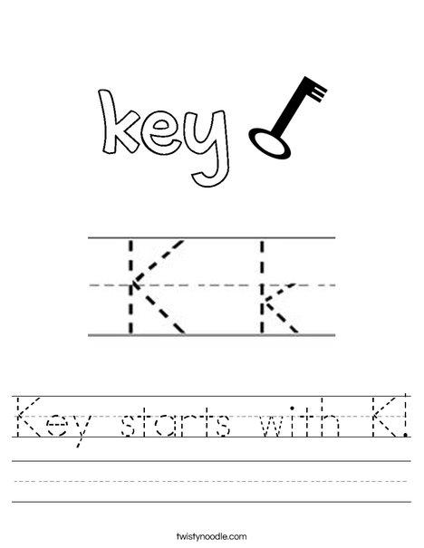 Key starts with K! Worksheet