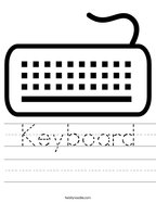 Keyboard Handwriting Sheet