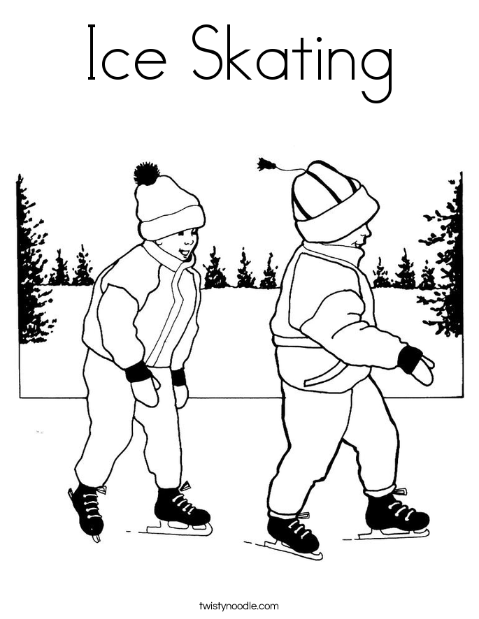 Children ice skating coloring pages