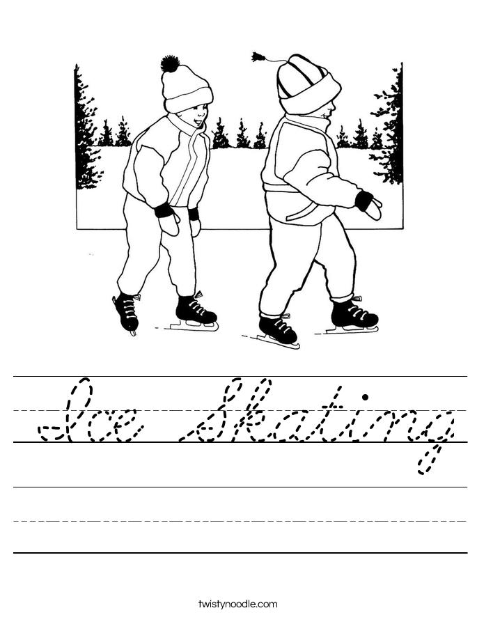 ice skating worksheet cursive twisty noodle. Black Bedroom Furniture Sets. Home Design Ideas
