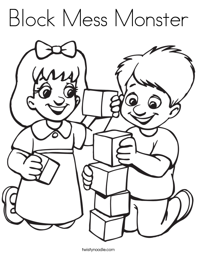 Block Mess Monster Coloring Page