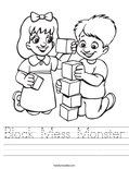 Block Mess Monster Worksheet