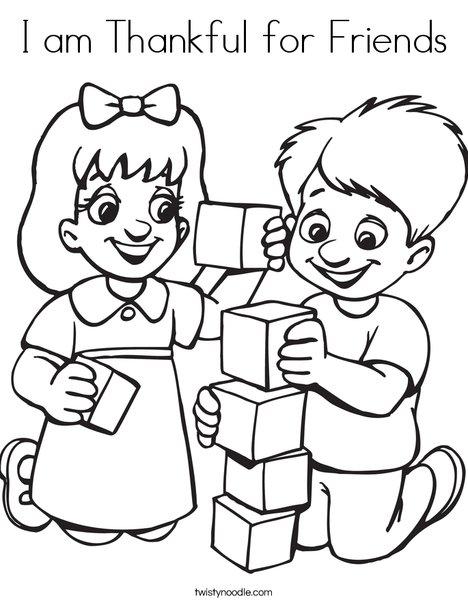 math worksheet : i am thankful for friends coloring page  twisty noodle : Friendship Worksheets For Kindergarten