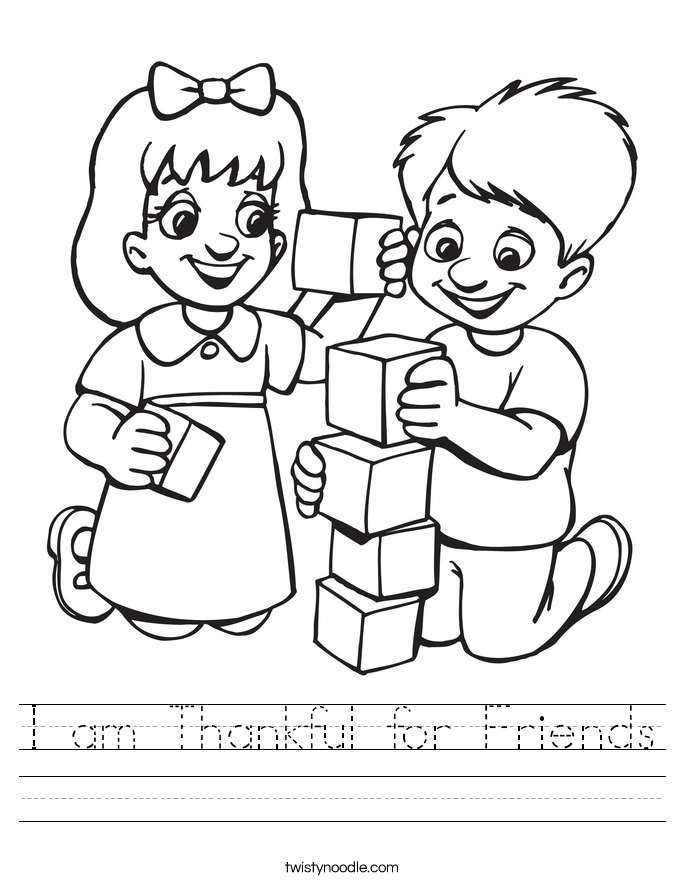 I am Thankful for Friends Worksheet